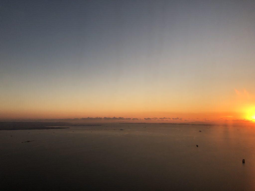 飛行機から見た元旦の夕焼け